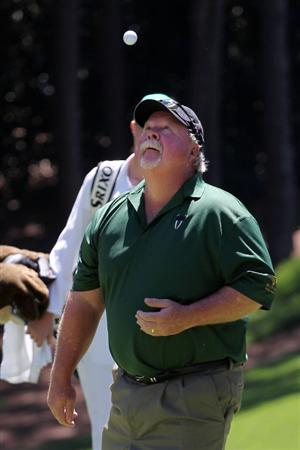 AUGUSTA, GA - APRIL 06:  Craig Stadler celebrates after a hole-in-one during the Par 3 Contest prior to the 2011 Masters Tournament at Augusta National Golf Club on April 6, 2011 in Augusta, Georgia.  (Photo by Jamie Squire/Getty Images)