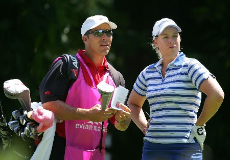 EVIAN, FRANCE - JULY 28:  Brittany Lincicome of the USA and her caddie are pictured on the 3rd hole during the third round of The Evian Masters on July 28, 2007 in Evian, France.  (Photo by Andy Lyons/Getty Images)
