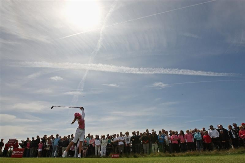 LYTHAM ST ANNES, ENGLAND - AUGUST 02:  Paula Creamer of USA tees off on the 4th hole during the final round of the 2009 Ricoh Women's British Open Championship held at Royal Lytham St Annes Golf Club, on August 2, 2009 in Lytham St Annes, England.  (Photo by Warren Little/Getty Images)