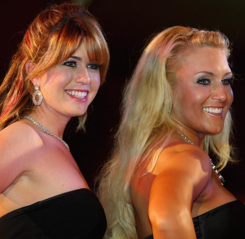 SINGAPORE - MARCH 04:  Paula Creamer (left) and Natalie Gulbis (both of the USA) pose for a photograph during the Gala Dinner prior to the start of the HSBC Women's Champions at Tanah Merah Country Club on March 4, 2009 in Singapore.  (Photo by Andrew Redington/Getty Images)