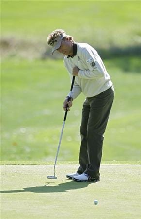 TIMONIUM, MD - OCTOBER 01:  Bernhard Langer of Germany putts on the first green during the first round of the Constellation Energy Senior Players Championship at Baltimore Country Club/Five Farms (East Course) held on October 1, 2009 in Timonium, Maryland. (Photo by Michael Cohen/Getty Images)