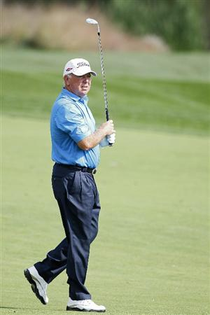 POTOMAC, MD - OCTOBER 09: Mark O'Meara reacts to his second shot on the fifth hole during the third round of the Constellation Energy Senior Players Championship held at TPC Potomac at Avenel Farm on October 9, 2010 in Potomac, Maryland. (Photo by Michael Cohen/Getty Images)
