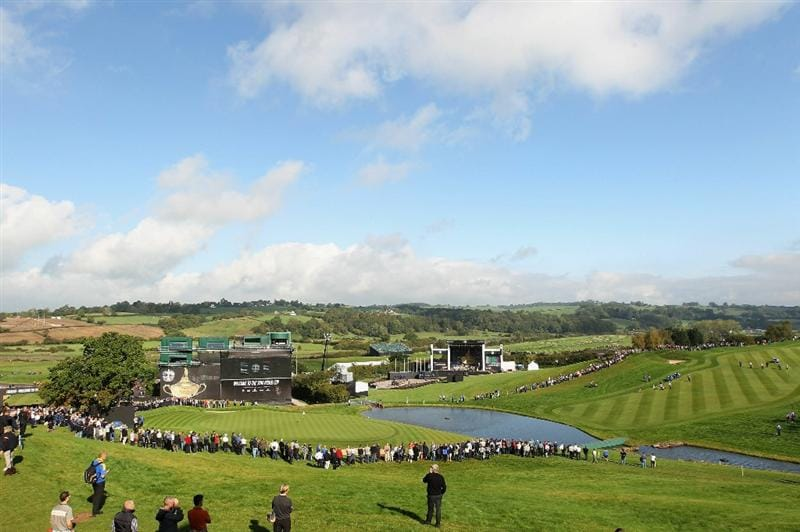 NEWPORT, WALES - SEPTEMBER 28:   General View of the 18th green during a practice round prior to the 2010 Ryder Cup at the Celtic Manor Resort on September 28, 2010 in Newport, Wales. (Photo by David Cannon/Getty Images)