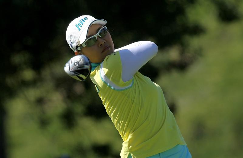 CARLSBAD, CA - MARCH 28:  Hee Kyung Seo of South Korea hits her tee shot on the fourth hole during the final round of the Kia Classic Presented by J Golf at La Costa Resort and Spa on March 28, 2010 in Carlsbad, California. (Photo by Stephen Dunn/Getty Images)