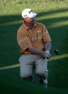 John Rollins reacts to a missed birdie attempt on the 17th green in the final round of the 2007 Bob Hope Chrysler Classic at the Classic Club in Palm Desert PGA TOUR - 2007 Bob Hope Chrysler Classic - Final RoundPhoto by Steve Grayson/WireImage.com