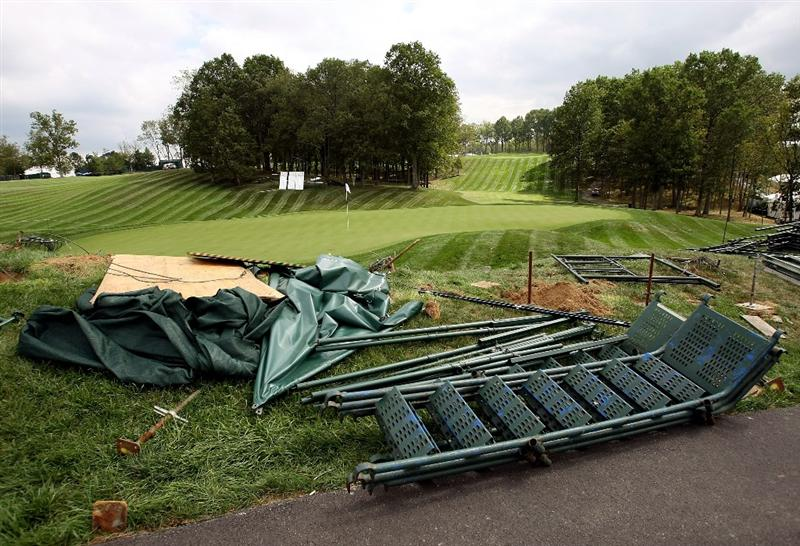 LOUISVILLE, KY - SEPTEMBER 15:  The television tower is seen blown down on the 12th green prior to the 2008 Ryder Cup at Valhalla Golf Club of September 15, 2008 in Louisville, Kentucky.  (Photo by Harry How/Getty Images)