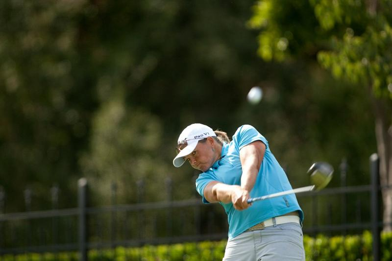 DANVILLE, CA - OCTOBER 16: Katherine Hull of Australia follows through on a tee shot during the third round of the CVS/Pharmacy LPGA Challenge at Blackhawk Country Club on October 16, 2010 in Danville, California. (Photo by Darren Carroll/Getty Images)