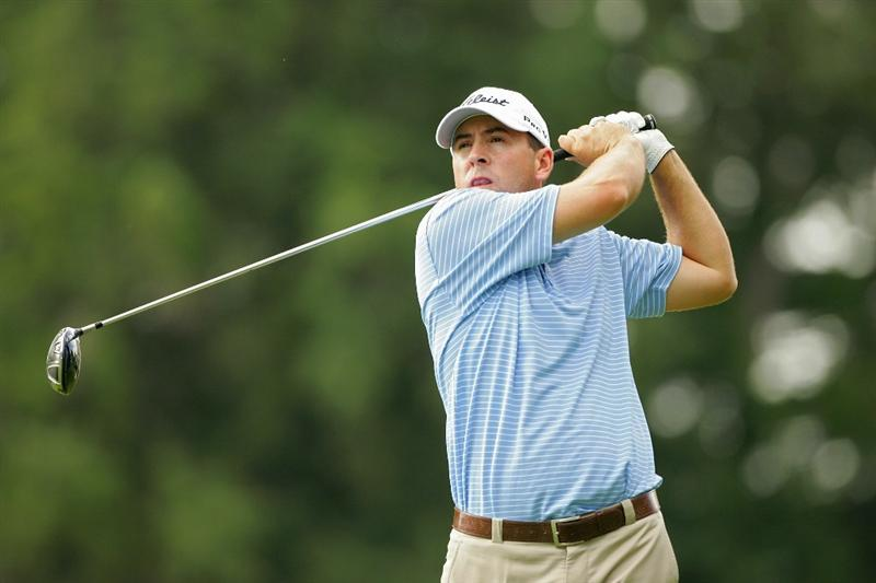 CROMWELL, CT - JUNE 25:  Ben Curtis hits a drive during the second round of the Travelers Championship held at TPC River Highlands on June 25, 2010 in Cromwell, Connecticut.  (Photo by Michael Cohen/Getty Images)