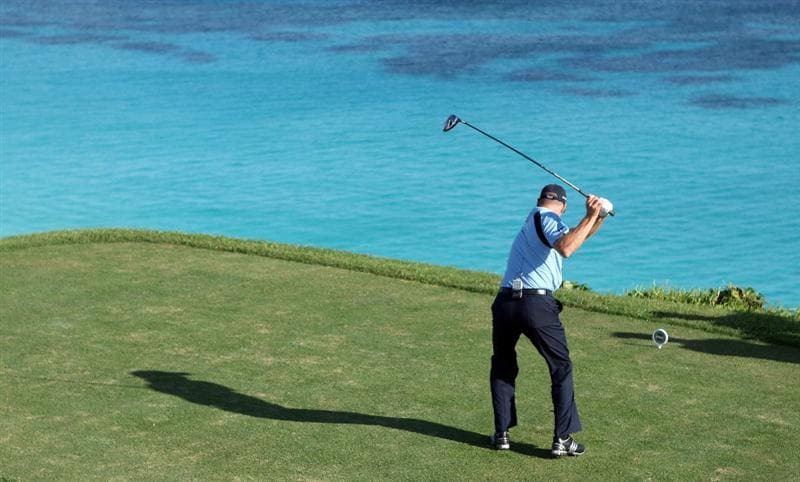 TUCKER'S TOWN, BERMUDA - OCTOBER 14:  Jim Furyk of the USA tees of on the par five 18th hole during the first round of the PGA Grand Slam of Golf at the Mid Ocean Club on October 14, 2008 in Tucker's Town, Bermuda.  (Photo by Ross Kinnaird/Getty Images)