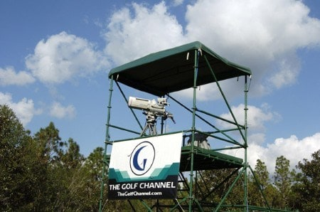 A Golf Channel camaera tower stands behind the 16th green during the third round of the 2005 Mitchell Company Tournament of Champions at The Crossings at Magnolia Grove in Mobile, Alabama on November 12, 2005.Photo by Al Messerschmidt/WireImage.com