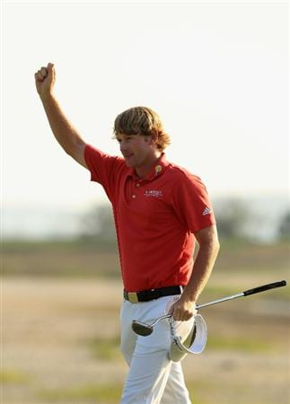 HILTON HEAD ISLAND, SC - APRIL 24:  Brandt Snedeker celebrates after defeating Luke Donald in a playoff on the 18th hole during the final round of The Heritage at Harbour Town Golf Links on April 24, 2011 in Hilton Head Island, South Carolina.  (Photo by Streeter Lecka/Getty Images)