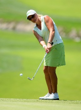 NEW ROCHELLE, NY - JULY 22:  Maria Hjorth of Sweden chips onto the 16th green during the semi-finals of the HSBC Women's World Match Play Championship at Wykagyl County Club on July 22, 2007 in New Rochelle, New York.  (Photo by Richard Heathcote/Getty Images)