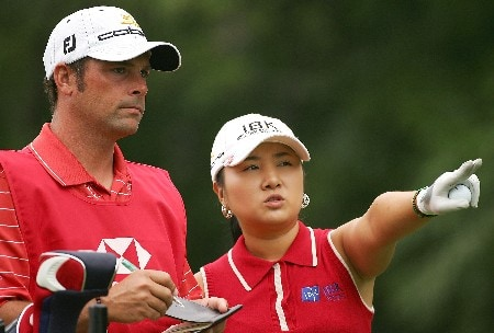 NEW ROCHELLE, NY - JULY 19:  Jeong Jang of South Korea discusses strategy with her caddie during the first round of the HSBC Women's World Match Play at Wykagyl Country Club on July 19, 2007 in New Rochelle, New York. (Photo by Sam Greenwood/Getty Images)