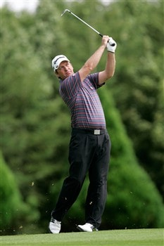 ATHLONE, IRELAND - AUGUST 03: Ian Garbutt of England plays his approach shot to the 12 green during the European Challege Tour Challenge of Ireland at the Glasson Golf Hotel & County Club on August 3, 2008 in Athlone, Ireland. (Photo by Patrick Bolger/Getty Images)