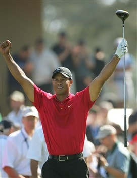 SAN DIEGO - JUNE 16:  Tiger Woods celebrates hitting the first fairway during the playoff round of the 108th U.S. Open at the Torrey Pines Golf Course (South Course) on June 16, 2008 in San Diego, California.  (Photo by Doug Pensinger/Getty Images)