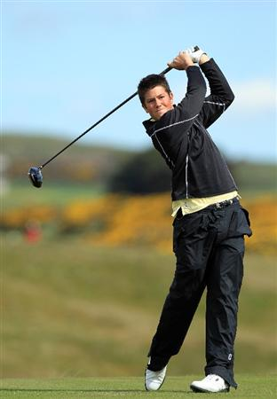 ABERDEEN, SCOTLAND - MAY 12:  Rhys Enoch of Wales during the 2011 Walker Cup Squad practice session at Royal Aberdeen Golf Club on May 12, 2011 in Aberdeen, Scotland.  (Photo by David Cannon/Getty Images)