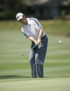 Bob Estes on the 5th hole during the first round of the Verizon Heritage Classic being played at the Harbour Town Golf Links in Hilton Head, South Carolina on April 13, 2006.Photo by Mike Ehrmann/WireImage.com
