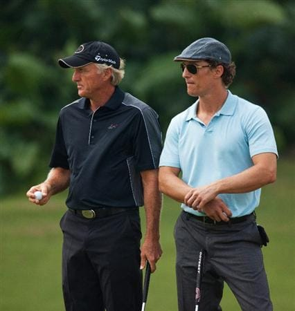 HAIKOU, CHINA - OCTOBER 31:  Golfer Greg Norman of Australia and Actor Mathew McConaughey (R) look on during day five of the Mission Hills Start Trophy tournament at Mission Hills Resort on October 31, 2010 in Haikou, China. The Mission Hills Star Trophy is Asia's leading leisure liflestyle event which features Hollywood celebrities and international golf stars.  (Photo by Athit Perawongmetha/Getty Images for Mission Hills)