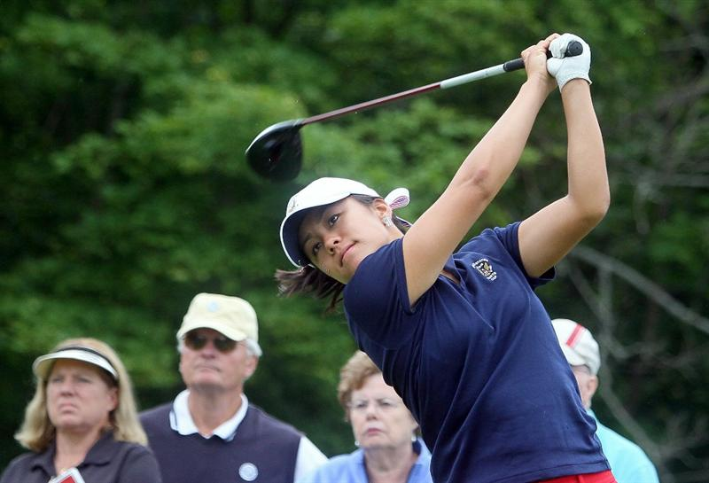 MANCHESTER, MA - JUNE 12:  Stephanie Kono watches the flight of her shot in Four Ball competition during the second day of the 2010 Curtis Cup Match at the Essex Country Club on June 12, 2010 in Manchester, Massachusetts. (Photo by Jim Rogash/Getty Images)