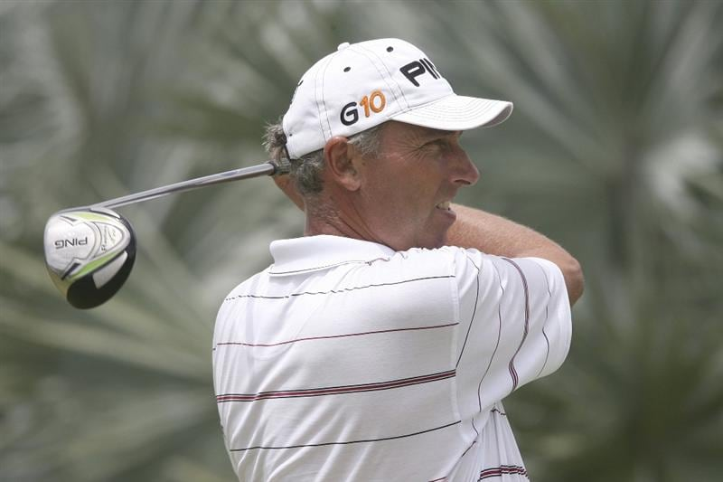 ROYAL WESTMORELAND, BARBADOS - MARCH 20:  Mike Harwood of Australia drives from the 16th tee during the final round of the DGM Barbados Open played at Royal Westmoreland on March 20, 2009 in Barbados, West Indies.  (Photo by Phil Inglis/Getty Images)