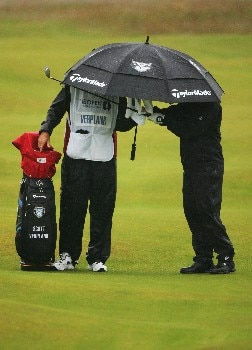 CARNOUSTIE, UNITED KINGDOM - JULY 22:  Scott Verplank of the USA waits with his caddie in the second fairway during the final round of The 136th Open Championship at the Carnoustie Golf Club on July 22, 2007 in Carnoustie, Scotland.  (Photo by Warren Little/Getty Images)