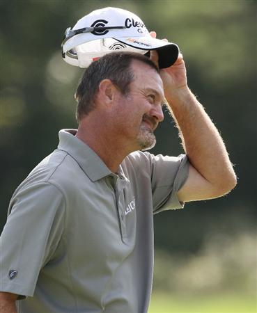 NORTON, MA - SEPTEMBER 6:  Jerry Kelly reacts on the 18th green during the third round of the Deutsche Bank Championship held at TPC Boston on September 6, 2009 in Norton, Massachusetts. (Photo by Jim Rogash/Getty Images)
