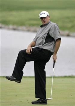 GLEN ALLEN, VA - APRIL 27: Neal Lancaster reacts to missing a putt on the 18th green during the final round of the Henrico County Open of the Nationwide Tour at The Dominion Club April 27, 2008 in Glen Allen, Virginia. (Photo by Chris Gardner/Getty Images)