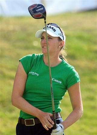 HUIXQUILUCAN, MEXICO - MARCH 21:  Brittany Lang of the USA watches her tee shot on the tenth hole during the second round of the MasterCard Classic at the BosqueReal Country Club on March 21, 2009 in Huixquiucan, Mexico.  (Photo by Scott Halleran/Getty Images)