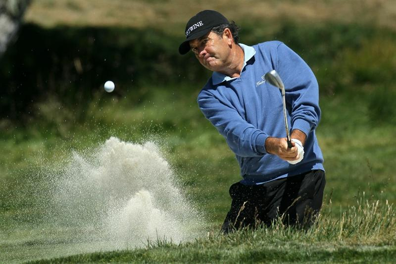 PEBBLE BEACH, CA - JUNE 17:  David Frost of South Africa hits from a bunker on the second hole during the first round of the 110th U.S. Open at Pebble Beach Golf Links on June 17, 2010 in Pebble Beach, California.  (Photo by Stephen Dunn/Getty Images)