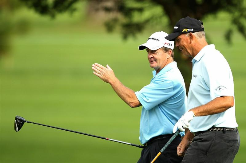 SAN FRANCISCO - NOVEMBER 05:  Fred Funk and Tom Lehman walks down the 9th hole during round 2 of the Charles Schwab Cup Championship at Harding Park Golf Course on November 5, 2010 in San Francisco, California.  (Photo by Ezra Shaw/Getty Images)