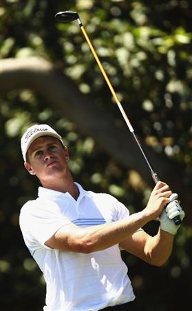 SYDNEY, AUSTRALIA - DECEMBER 13:  Stephen Dartnall of Australia tees off on the 3rd hole during the third round of the 2008 Australian Open at The Royal Sydney Golf Club on December 13, 2008 in Sydney, Australia.  (Photo by Brendon Thorne/Getty Images)