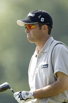 Mike Sposa reacts to his tee shot during the Rheem Classic at Hardscrabble Country Club in Fort Smith, Arkansas on Thursday May 12, 2005.Photo by Wesley Hitt/WireImage.com