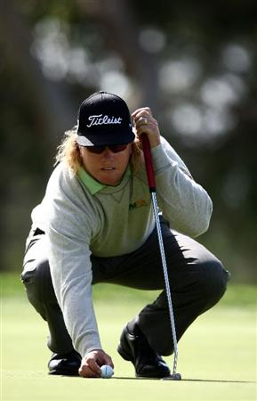 LA JOLLA, CA - FEBRUARY 07: Charley Hoffman lines up his putt on the 6th green during the 3rd Round of the Buick Invitational at the Torrey Pines North Course on February 7, 2009 in La Jolla, California. (Photo by Donald Miralle/Getty Images)