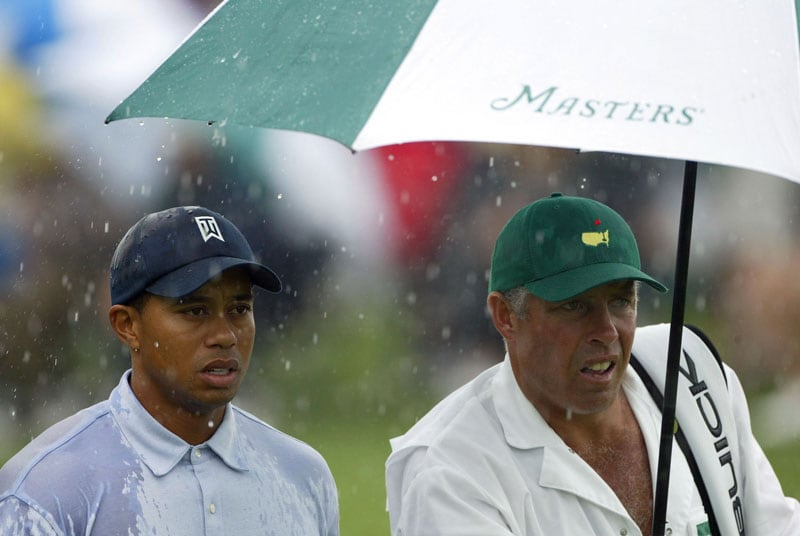 Tiger Woods and Steve Williams at the 2004 Masters
