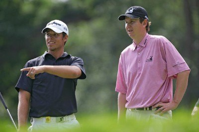 Aaron Baddeley and  J.J. Henry during the first round of the 88th PGA Championship at Medinah Country Club in Medinah, Illinois, on August 17, 2006.Photo by Sam Greenwood/WireImage.com