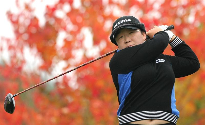 SHIMA, JAPAN - NOVEMBER 08:  Shin Ji-Yai of South Korea makes a tee shot on the second hole during the second round of 2008 Mizuno Classic at Kintetsu Kashikojima Country Club on November 8, 2008 in Shima, Mie, Japan.  (Photo by Koichi Kamoshida/Getty Images)