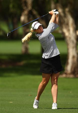 GOLD COAST, AUSTRALIA - MARCH 04:  Brittany Lincicome of the USA plays an iron shot on the 9th hole during round one of the 2010 ANZ Ladies Masters at Royal Pines Resort on March 4, 2010 in Gold Coast, Australia.  (Photo by Ryan Pierse/Getty Images)