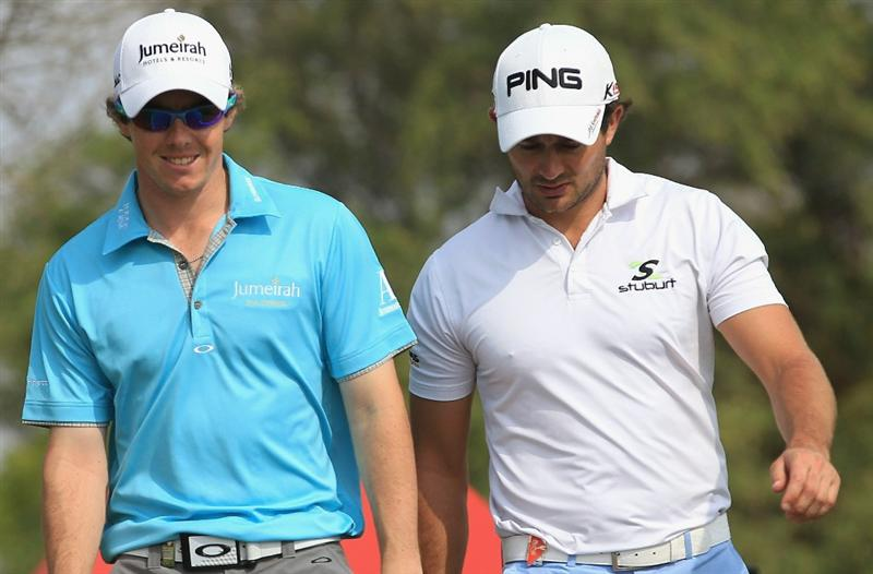 ABU DHABI, UNITED ARAB EMIRATES - JANUARY 22:  Rory McIlroy of Northern Ireland and Gareth Maybin of Northern Ireland chat together during the third round of The Abu Dhabi HSBC Golf Championship at Abu Dhabi Golf Club on January 22, 2011 in Abu Dhabi, United Arab Emirates.  (Photo by Andrew Redington/Getty Images)