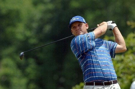 Jason Schultz tees off during the Final Round of the Chattanooga Classic  at Black Creek Club in Chattanooga, Tennessee on June 5, 2005.Photo by Joe Murphy/WireImage.com