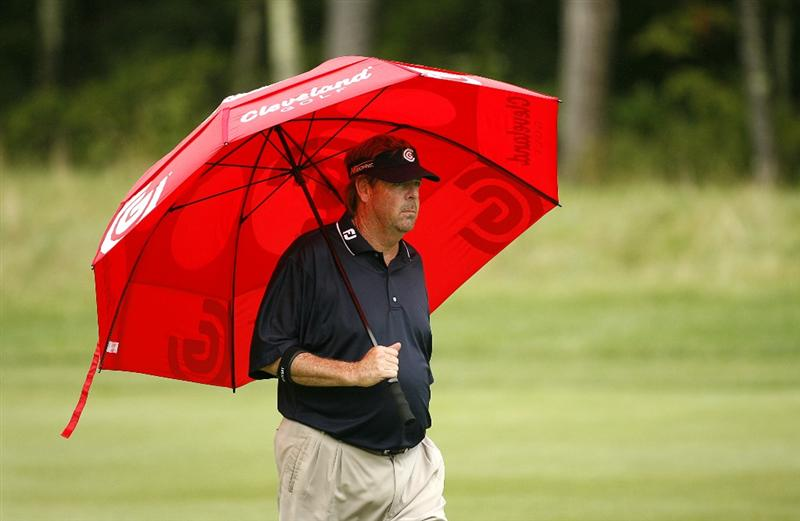 NORTON, MA - AUGUST 30: Steve Lowery walks up the 9th fairway during the second round of the Deutsche Bank Championship at TPC Boston on August 30, 2008 in Norton, Massachusetts. (Photo by Hunter Martin/Getty Images)