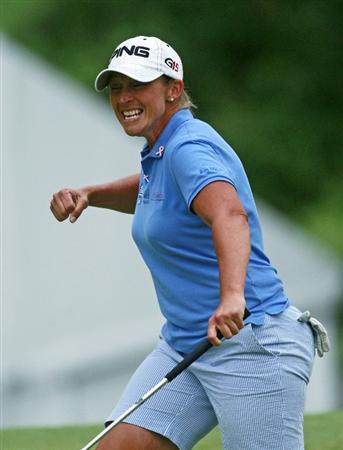 ROGERS, AR - SEPTEMBER 13:  Angela Stanford reacts after making an eagle to tie for the lead on the 18th hole during final round play in the P&G Beauty NW Arkansas Championship at the Pinnacle Country Club on September 13, 2009 in Rogers, Arkansas.  (Photo by Dave Martin/Getty Images)