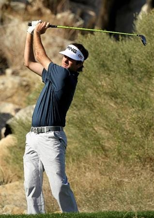 LA QUITNA, CA - JANUARY 23: Bubba Watson hits his tee shot on the 16th hole of the Palmer Private course at PGA West during the third round of the Bob Hope Classic on January 23, 2010 in La Quinta, California. (Photo by Stephen Dunn/Getty Images)