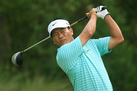 PONTE VEDRA BEACH, FL - MAY 09:  K.J. Choi of South Korea plays his tee shot on the 11th hole during the second round of the THE PLAYERS Championship on THE PLAYERS Stadium Course at TPC Sawgrass on May 9, 2008 in Ponte Vedra Beach, Florida.  (Photo by Scott Halleran/Getty Images)