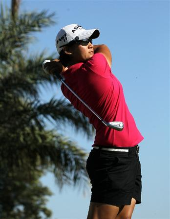 RANCHO MIRAGE, CA - APRIL 03:  Yani Tseng of Taiwan hits her tee shot on the 14th hole during the final round of the Kraft Nabisco Championship at Mission Hills Country Club on April 3, 2011 in Rancho Mirage, California.  (Photo by Stephen Dunn/Getty Images)