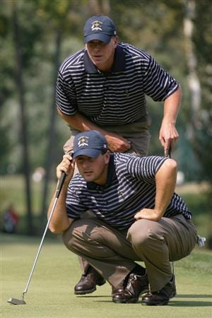 LOUISVILLE, KY - SEPTEMBER 20:  Ben Curtis and Steve Stricker of the USA team line up a putt during the afternoon four-ball matches on day two of the 2008 Ryder Cup at Valhalla Golf Club on September 20, 2008 in Louisville, Kentucky.  (Photo by Andy Lyons/Getty Images)