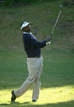 PACIFIC PALISADES, CA - FEBRUARY 16:  Vijay Singh of Figi hits his second shot on the 12th hole during the third round of the Northern Trust Open on February 16, 2008 at Riviera Country Club in Pacific Palisades. California.  (Photo by Stephen Dunn/Getty Images)
