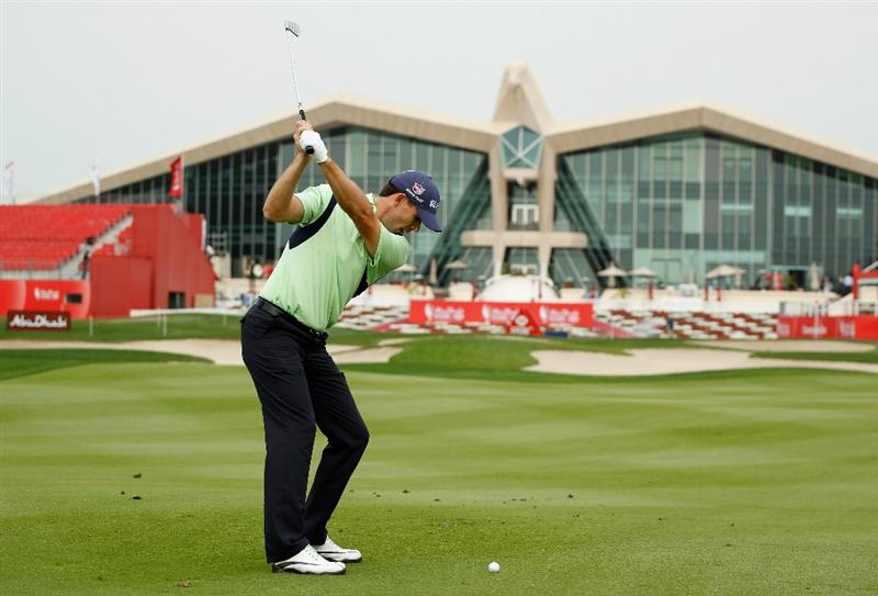 ABU DHABI, UNITED ARAB EMIRATES - JANUARY 18: Padraig Harrington of Ireland hits a shot during a practice round prior to the start of the 2011 Abu Dhabi HSBC Golf Championship  at the Abu Dhabi Golf Club on January 18, 2011 in Abu Dhabi, United Arab Emirates.  (Photo by Scott Halleran/Getty Images)
