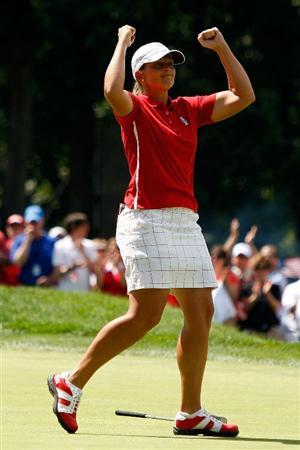 SUGAR GROVE, IL - AUGUST 23:  Angela Stanford of the U.S. Team celebrates after defeating Becky Brewerton of the European Team on the 14th hole during  the 2009 Solheim Cup at Rich Harvest Farms on August 23, 2009 in Sugar Grove, Illinois.  (Photo by Chris Graythen/Getty Images)