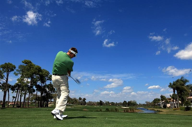 PALM BEACH GARDENS, FL - MARCH 15: Robert Allenby of Australia hits during the Els for Autism Pro-Am on the Champions Course at the PGA National Golf Club on March 15, 2010 in Palm Beach Gardens, Florida.  (Photo by David Cannon/Getty Images)