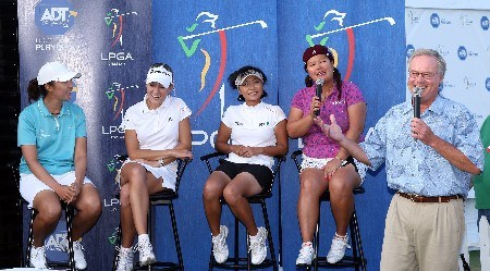 WEST PALM BEACH, FL - NOVEMBER 17:  (L-R) Sarah Lee, Natalie Gulbis, Mi Hyun Kim and Christina Kim speak with television announcer Mark Rolfing at the Live Draw after the completion of the third round of the 2007 ADT Championship held at the Trump International Golf Course, on November 17, 2007 in West Palm Beach, Florida.  (Photo by David Cannon/Getty Images)